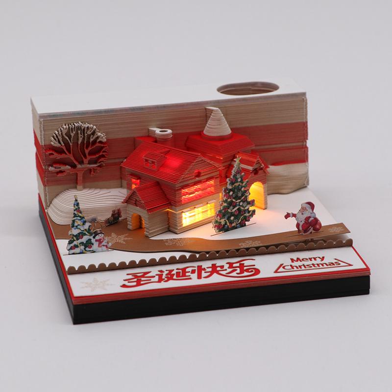 立体3d便签纸创意3d文创发光圣诞建筑模型便签纸定制