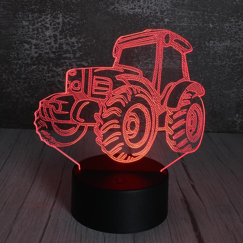 3d亚克力小夜灯创意led插电遥控亚克力小夜灯拖拉机定制