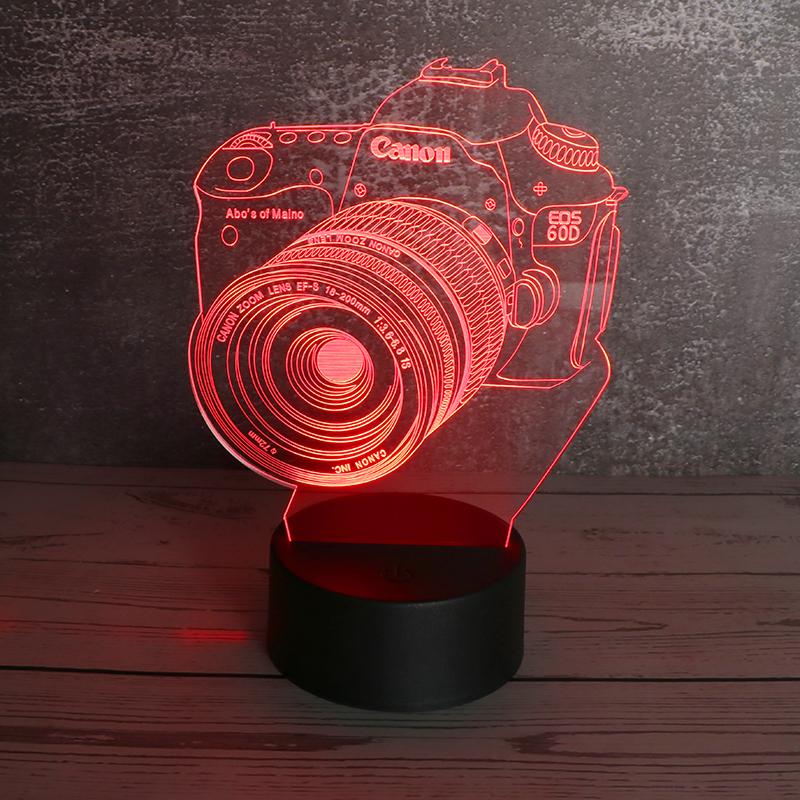3d亚克力diy小夜灯创意七彩led亚克力小夜灯照相机定制