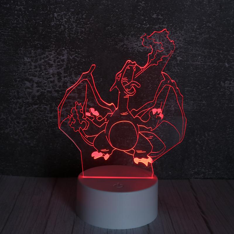 3d卡通小夜灯七彩led发光立体卡通小夜灯喷火龙定制
