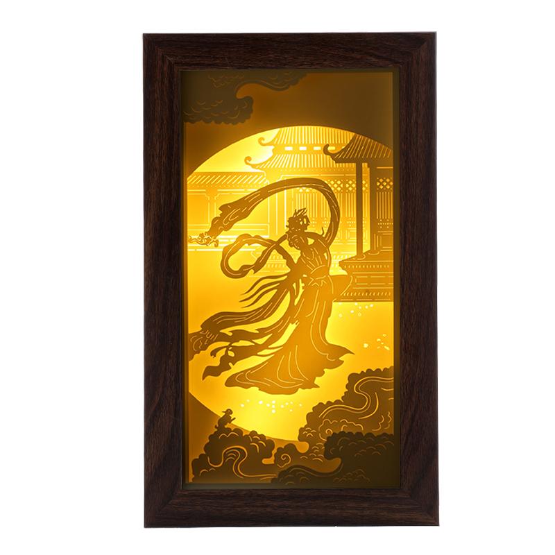 企业礼品立体纸雕灯中秋节赠礼嫦娥奔月纸雕灯厂家定制