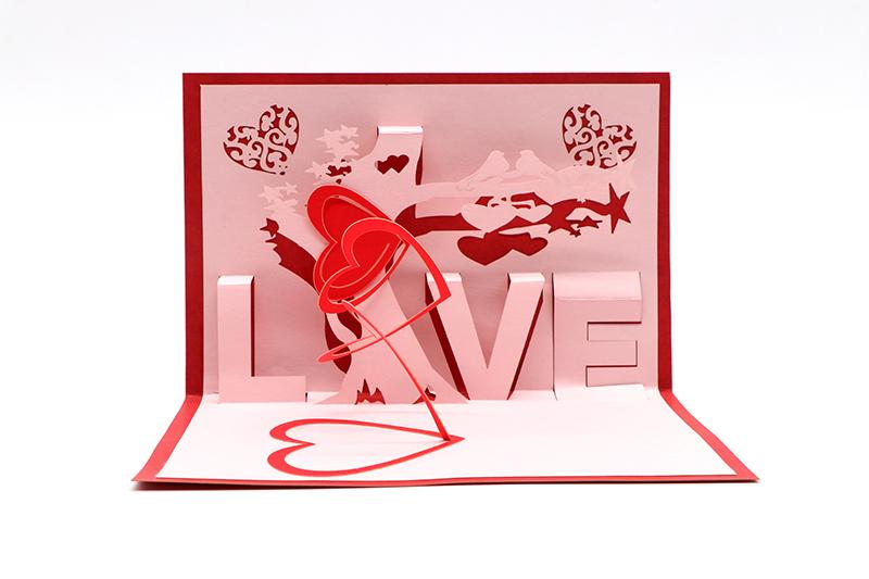 3d立体贺卡定制创意镂空婚礼贺卡心形立体贺卡定制