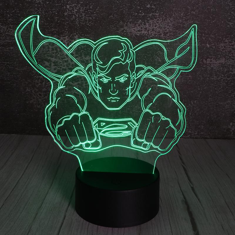 3d立体遥控小夜灯创意亚克力led发光超人小夜灯厂家定制