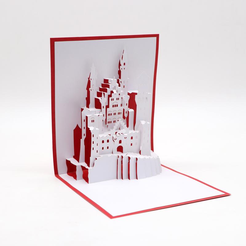 3d立体贺卡定制3d模型立体贺卡城堡厂家定制批发