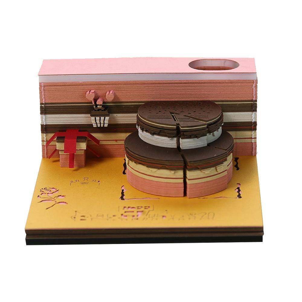 3d便签纸雕定制立体生日蛋糕便签纸定制厂家