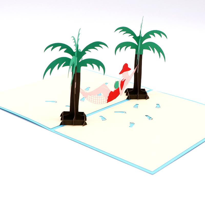 立体3d贺卡手工镂空3d立体贺卡假日沙滩厂家定制