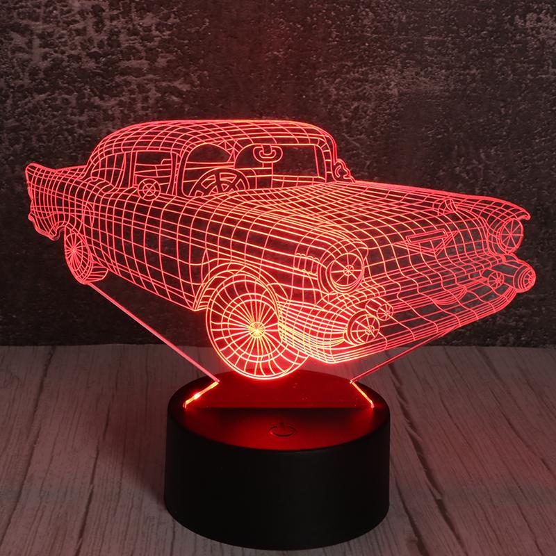 3d七彩小夜灯亚克力立体小夜灯创意汽车小夜灯厂家定制