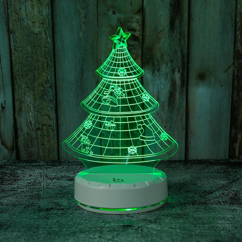 3d小夜灯亚克力Led小夜灯圣诞树七彩发光小夜灯厂家定制批发