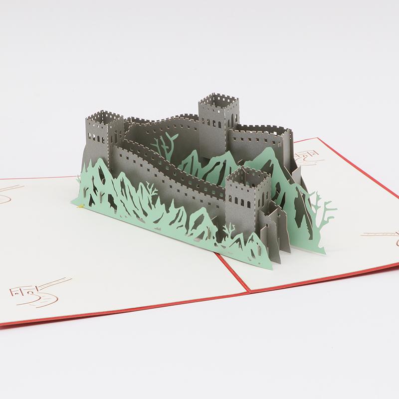 3d立体纸雕贺卡镂空手工建筑模型贺卡长城节日贺卡定制批发