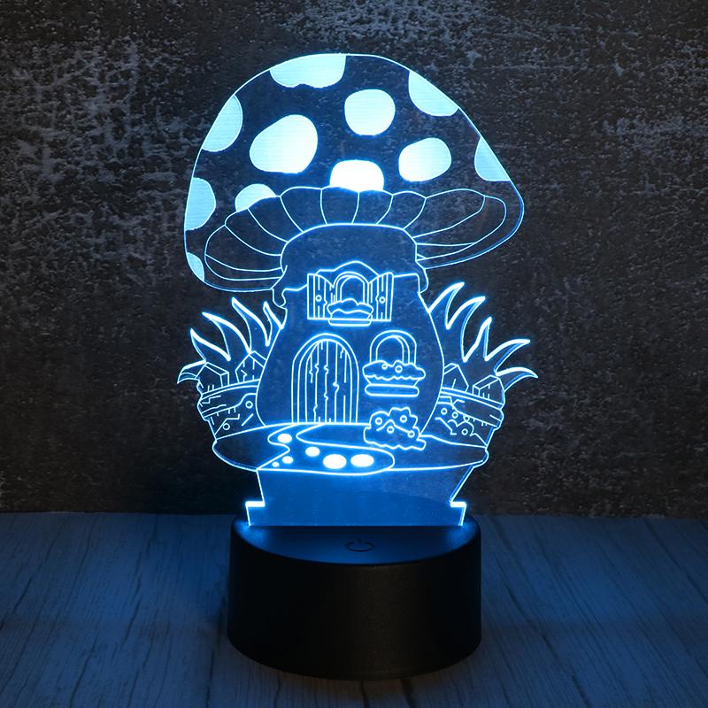 3d亚克力小夜灯创意led七彩蘑菇屋小夜灯定制批发