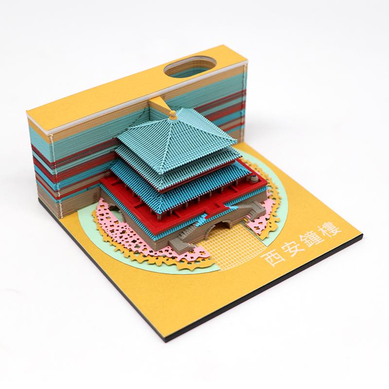 3d立体建筑模型便签纸西安钟楼建筑模型便签纸定制厂家
