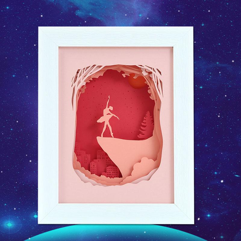 3d叠影纸雕灯芭蕾舞者创意纸雕小夜灯厂家定制