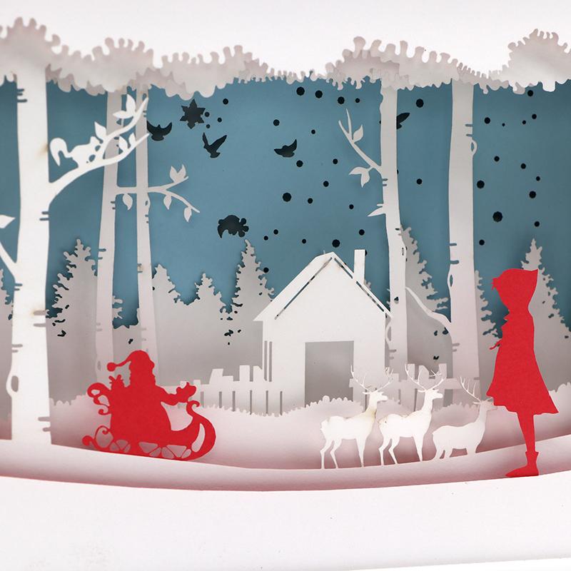 3d立体光影纸雕灯创意3d圣诞纸雕灯定制