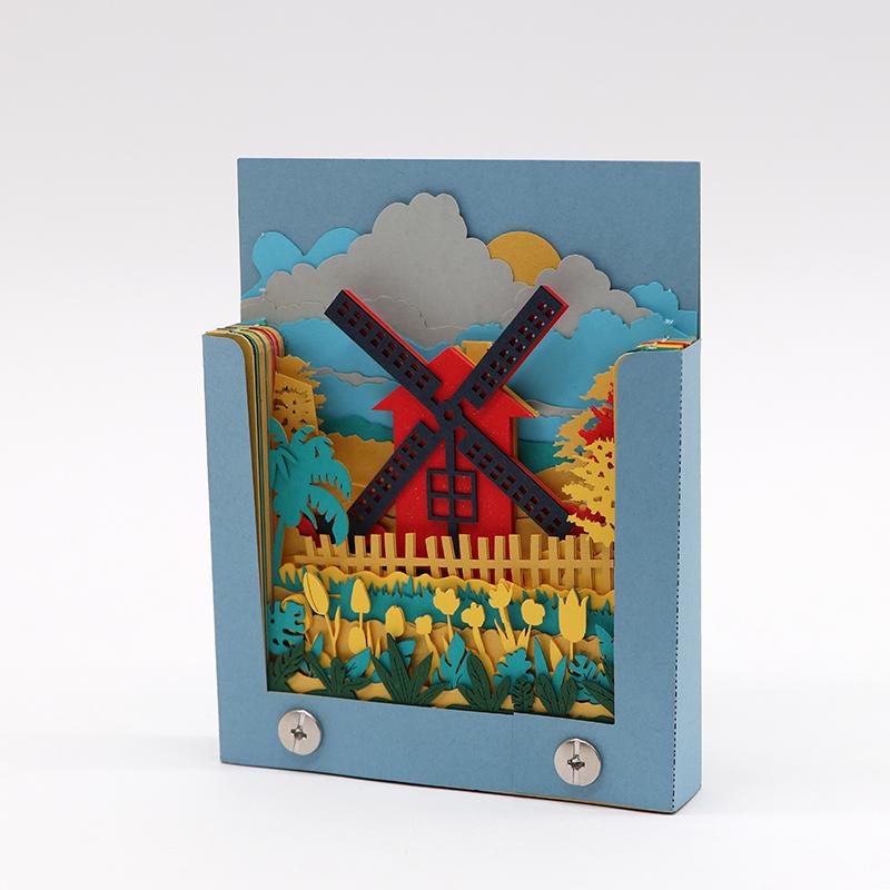 3d艺术便签薄款立体创意风车模型便签纸厂家定制