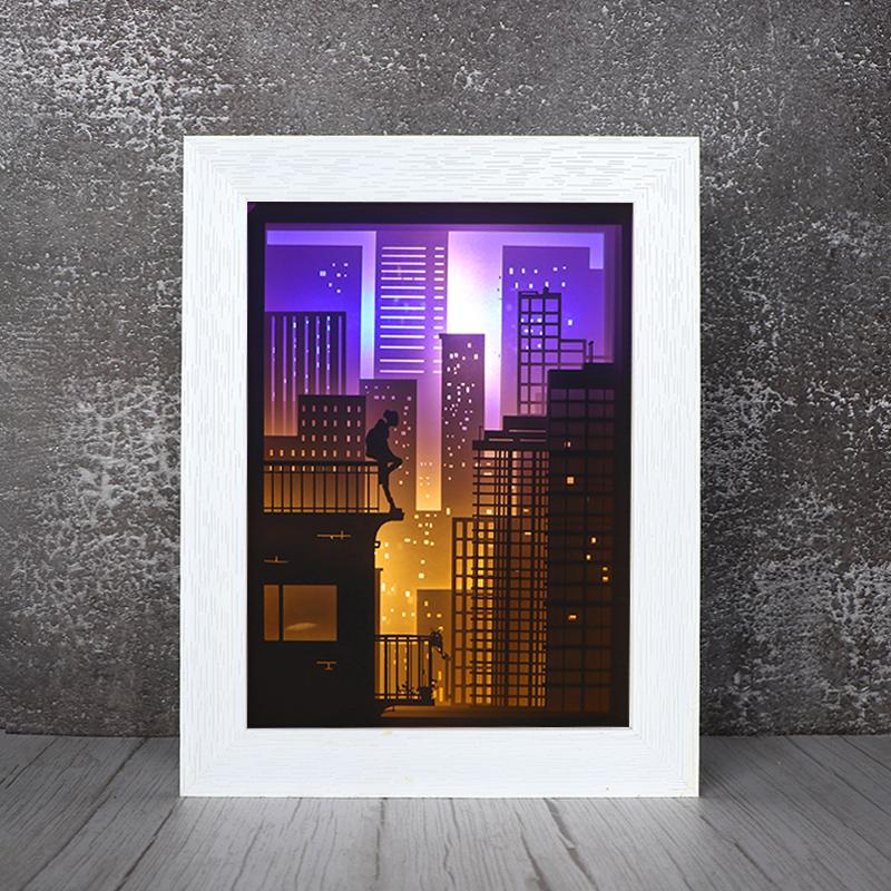 3d光影纸雕灯摆件创意镂空纸雕剪影灯摆件迷途厂家定制