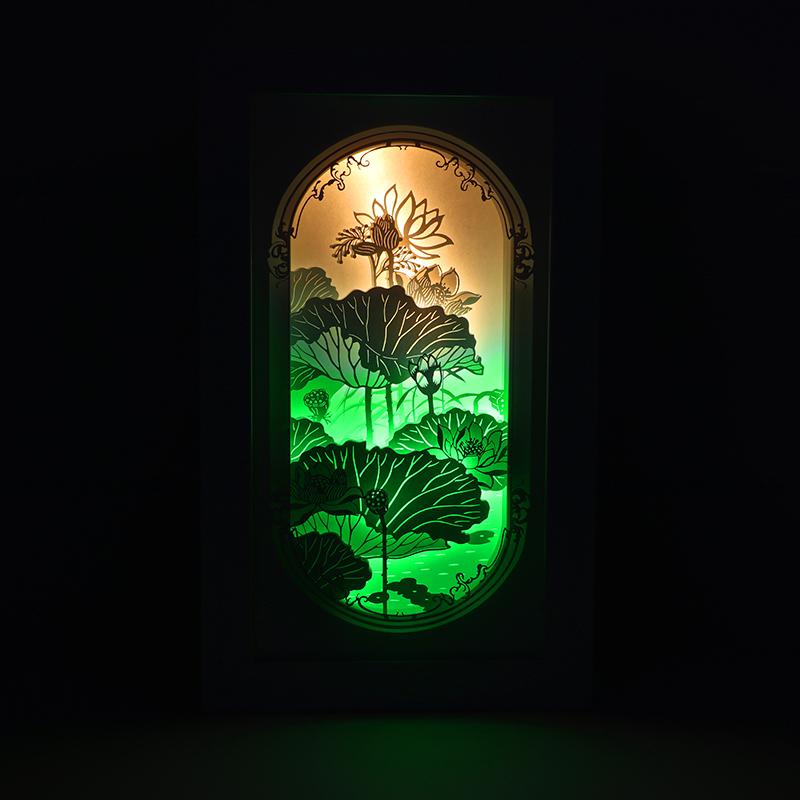 创意古风纸雕灯3d立体光影纸雕灯中国风纸雕灯荷塘月色厂家定制