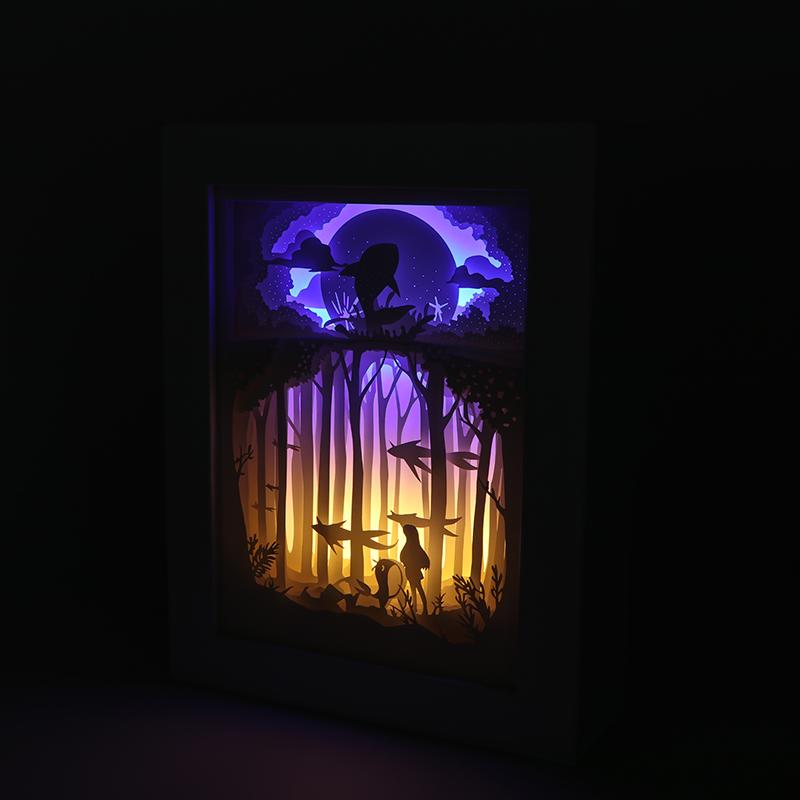 3d光影diy纸雕灯创意镂空diy纸雕灯摆件梦幻海洋厂家定制