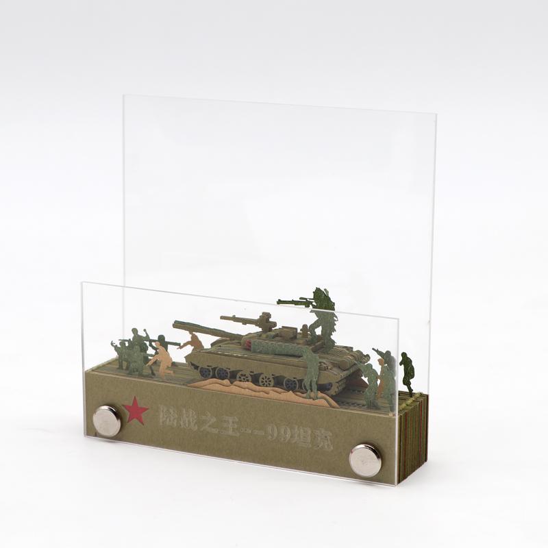 3d立体型便签纸国庆献礼陆战队坦克3d立体模型便签纸厂家定制
