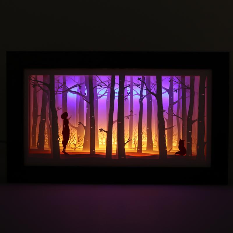 3d光影纸雕摆件创意3d立体纸雕灯厂家定制批发